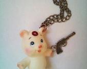 Kitsch Necklace Toy Bear With a Brass Revolver