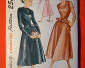Vintage 1940s Dress Pattern-Simplicity 2676 Cocktail Evening Dress Bust 30 Peplum