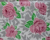 """Vintage Feed Sack Fabric-1930s-1950s-Pretty Pink Roses-45"""" x 18"""""""