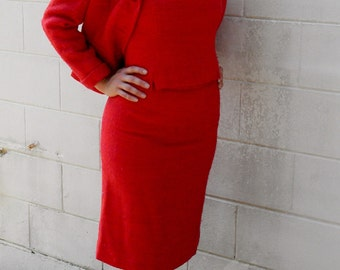 Vintage 1960s 3-Piece Suit Hot Pink and Orange