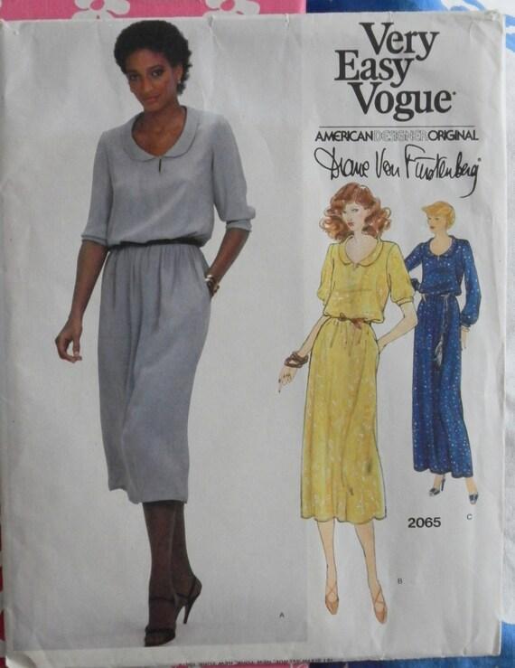 RESERVED for Christy-Vintage Easy VOGUE Pattern-Diane Von Furstenberg-American Designer Original- Dress Pattern 2065-Uncut