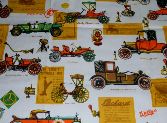 Vintage 1960s House N Home Fabrics-Antique Auto Novelty Fabric-1.4 Yards-Home Decor-Drapery-Upholstery
