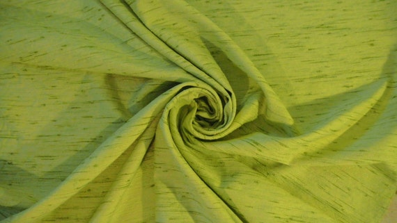 RESERVED for WYMARK-Vintage 1960s Celery Green Fabric-Textured Raw Silk Look-2 yards