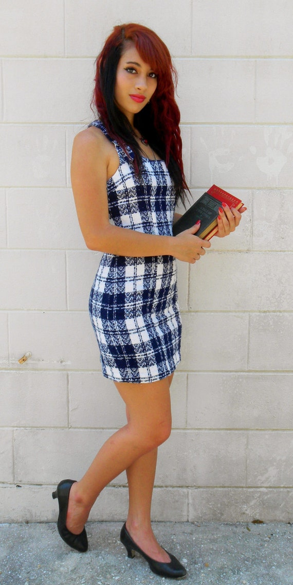 Vintage 1960s Mini Dress-Plaid Sundress-Jumper- by Byer Too-Sexy School Girl