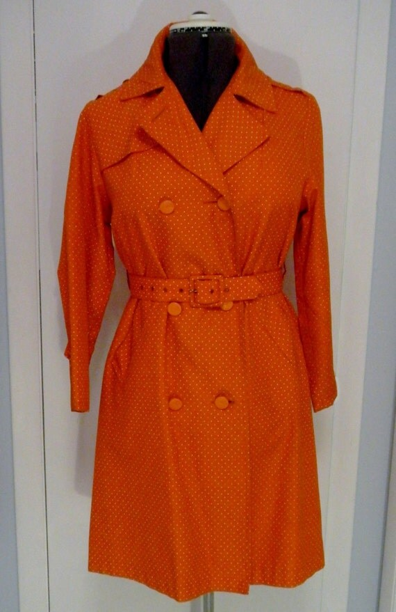 1960s MOD Trench Coat-Bright Orange & White Polka-Dots
