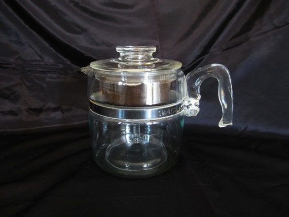 Vintage Pyrex Flameware 6 Cup Coffee Pot-Stove Top Percolator 7756 Complete