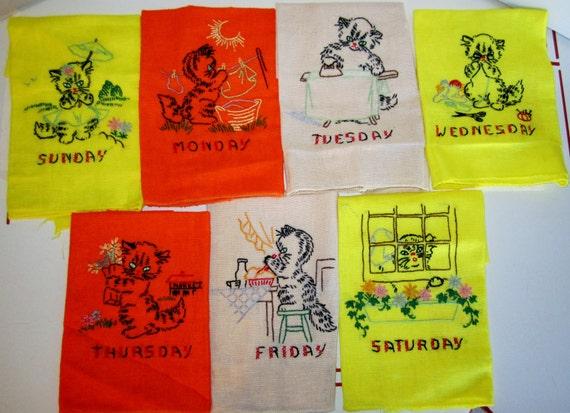Vintage Embroidered Tea Towels-Kittens-Days of the Week Chores-Unused