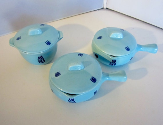 Vintage 1940s Cronin Blue Tulip 3 Individual Casseroles-2 with Handles