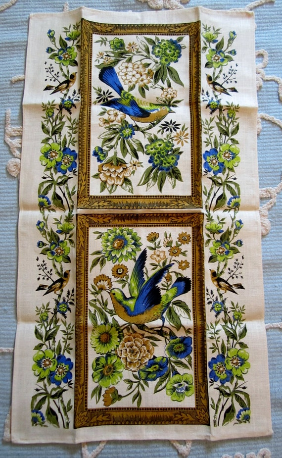 Vintage 1960s Linen Tea Towel-Floral/Birds-Mint