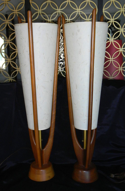 Vintage Pair Mid Century Danish Modern Teak Table Lamps Eames