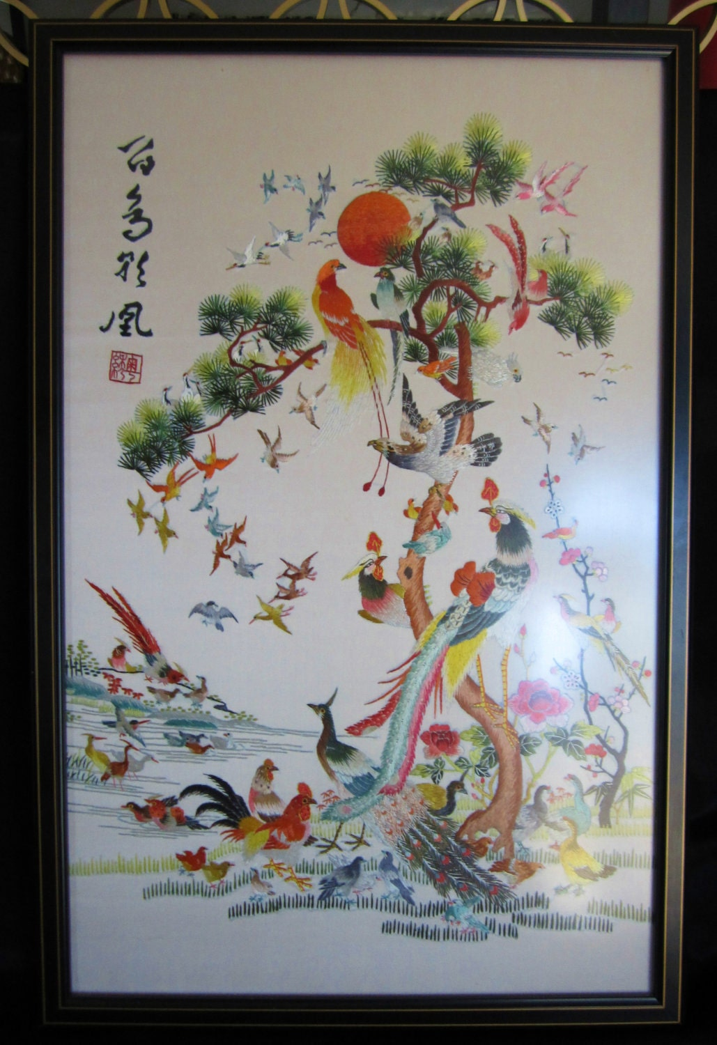 Vintage Japanese Silk Embroidery-Framed-Gorgeous Birds
