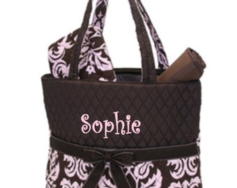 Personalized Diaper Bag Set - Pink and Brown Damask