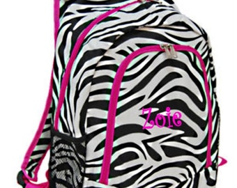 Personalized Backpack girls damask canvas with hot pink trim