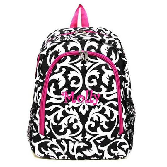 Personalized Backpack girls damask canvas by MauriceMonograms