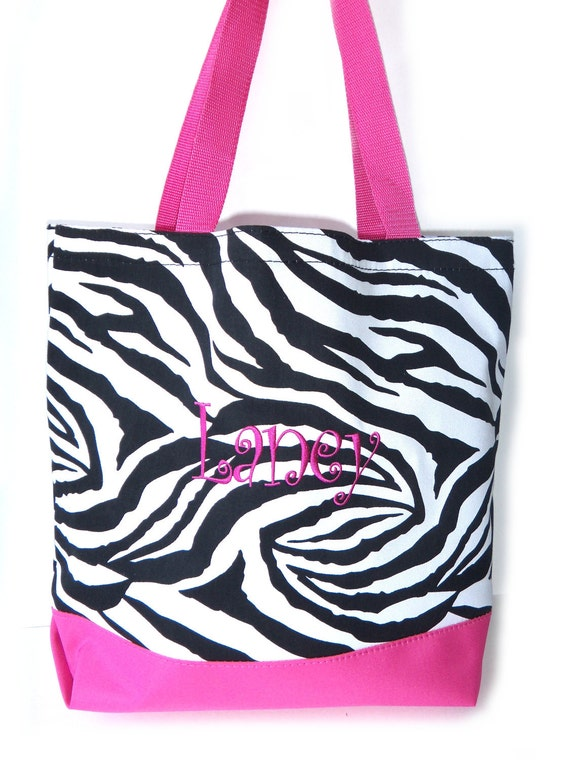 Personalized Tote Bag - Zebra and Bright Totebag Available in 5 COLORS