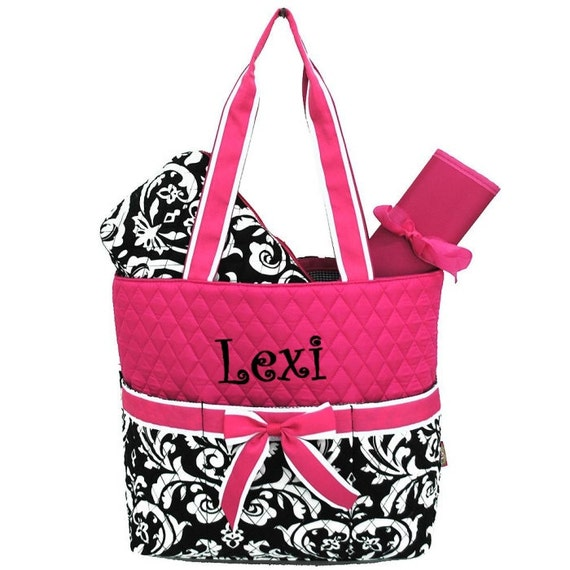 Personalized Damask Diaper Bag Set Hot Pink and Black