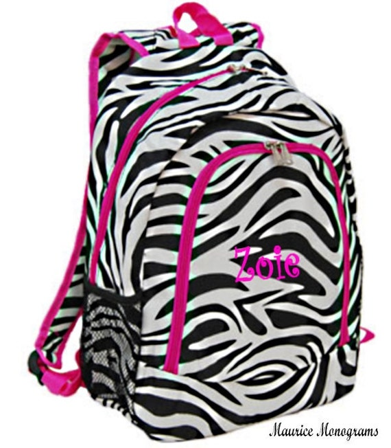 Personalized Zebra Backpack Girls Canvas Booksack Zebra with
