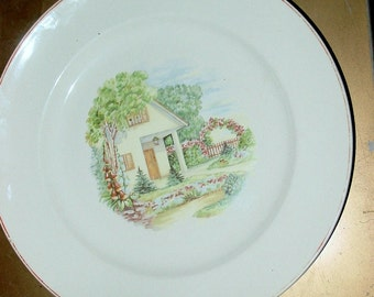 Art Deco Ivory Plate, Cottage and Garden, Universal Potteries, Made in the USA, House Ware, Country Kitchen, Dinnerware, Serving