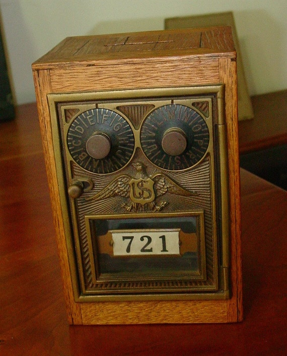 Antiques Us: Antique Combination US Post Office Box In Handmade Wood Bank