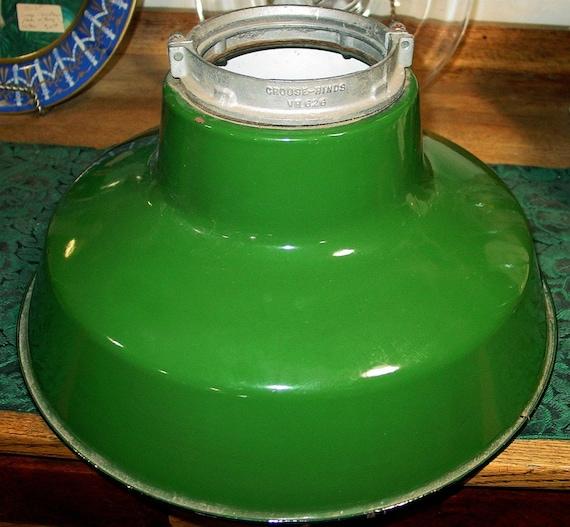 Vintage Industrial Green Enamel/Porcelain Light Cover/Shade