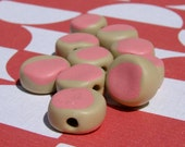 Handmade Green and Pink Disk Beads