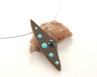 Fused glass necklace - irregular chocolate brown with turquoise dots
