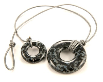 Fused glass organic donut ring necklace with grey/gray and black granite pattern, metal free jewelry