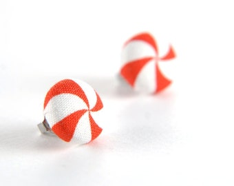 Red-white lollipop swirl stud earrings -  fabric button with surgical steel posts
