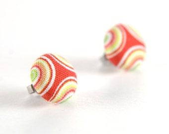Red-white-yellow circle fun stud earrings -  fabric button with surgical steel posts