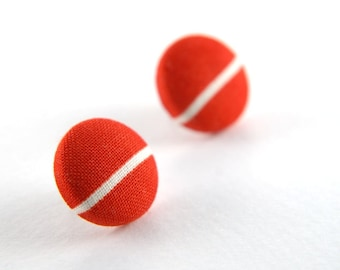 White line in red large stud earrings -  fabric button with surgical steel posts