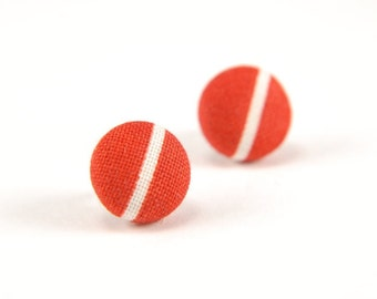 White line in red small stud earrings -  fabric button with surgical steel posts