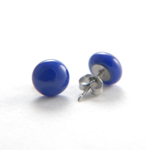 Fused glass stud earrings, deep cobalt blue