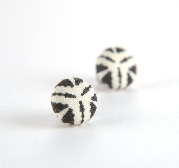 Black and white zebra stud earrings -  fabric button with surgical steel posts