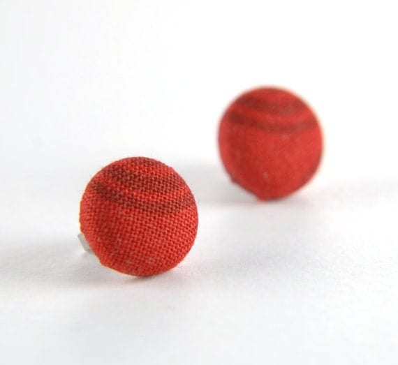 Burgundy arcs in red stud earrings -  fabric button with surgical steel posts