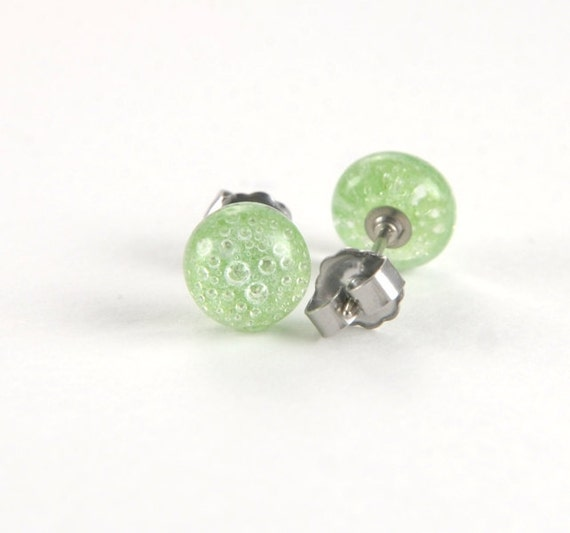 Fused glass green bubble stud earrings with surgical steel posts