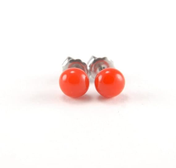 Tomato red fused glass stud earrings with surgical steel earring posts