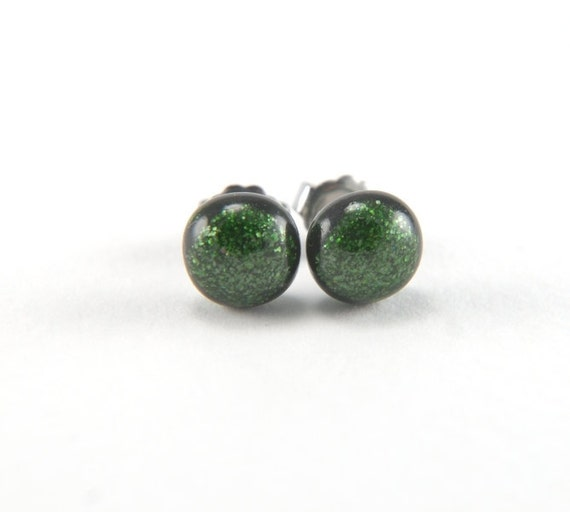 Glittering dark green fused glass stud earrings with surgical steel earring posts