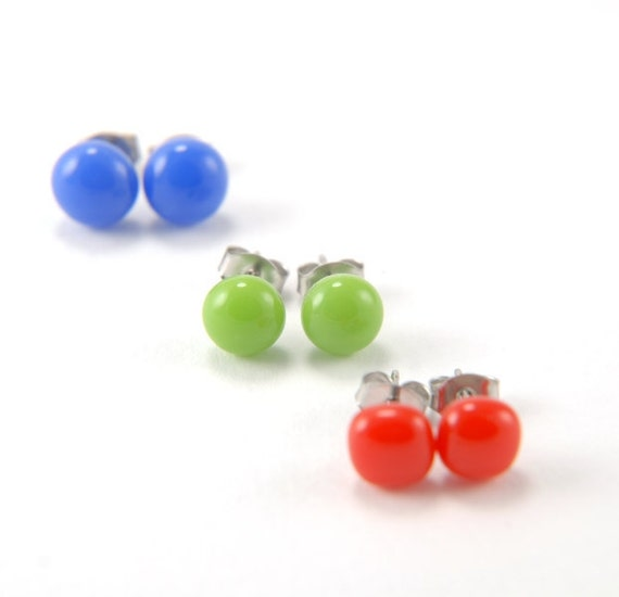 RGB red, green and blue fused glass stud earrings set (3) with surgical steel earring posts