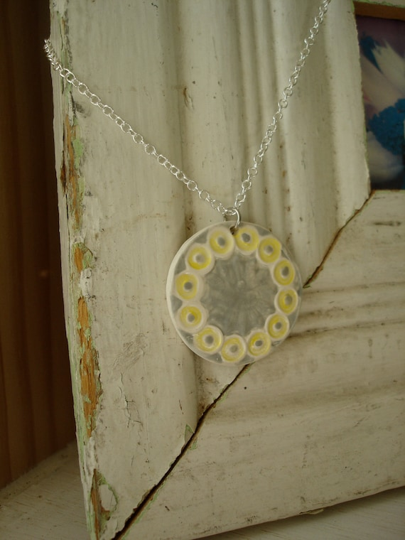 Necklace-Gray and Yellow Ceramic Pendant Necklace