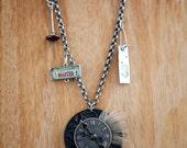 Steampunk clock face necklace
