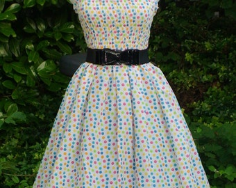 Vintage inspired  Retro Rockabilly swing summer dress - in White with colorful Polka dots