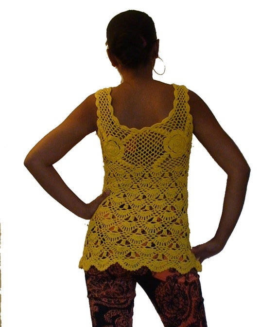 Crochet tank top- Tunic style in Yellow