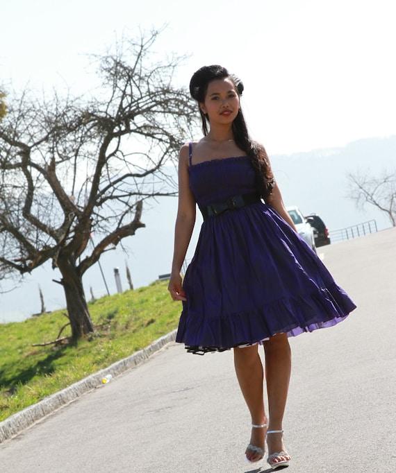 Vintage inspired Retro Rockabilly swing summer dress in Purple