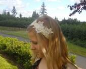Ivory Ribbon Headband with Lace Applique