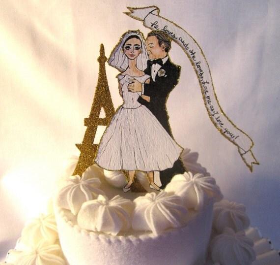 "SPRING SALE Audrey Hepburn Wedding Cake Topper -  Vintage Inspired Hand Painted OOAK ""Funny Face""  In Paris"