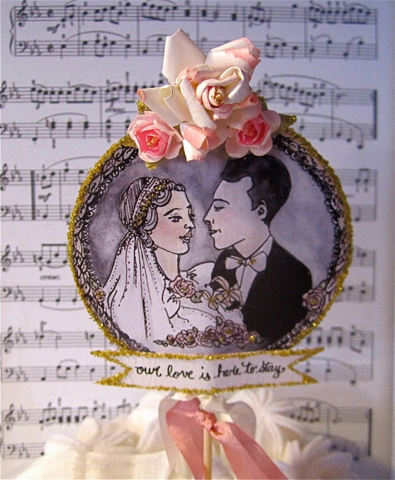 SPRING SALE 1920's Wedding Cake Topper - Vintage Inspired Bride And Groom Encircled By Glistening Gold And Tinted Roses