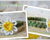 Crochet Braided Daisy Headband - NB-Adult