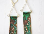 Tree Silhouette Earrings with Tiffany Green Patina