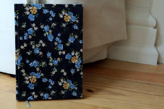 Blue Flowered Velvet Handmade Notebook