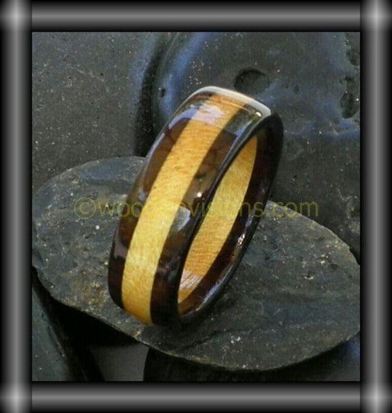 PRE MADE size 10.0    Exotic Rosewood with yellowheart inlay wooden ring